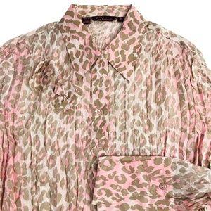 7 Diamonds Pink Leopard Print Silk Blouse